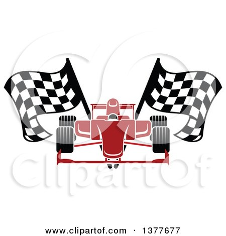 Clipart of a Red Race Car with Checkered Flags - Royalty Free Vector Illustration by Vector Tradition SM