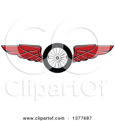 Clipart of a Flying Tire with Red Wings - Royalty Free Vector Illustration by Vector Tradition SM