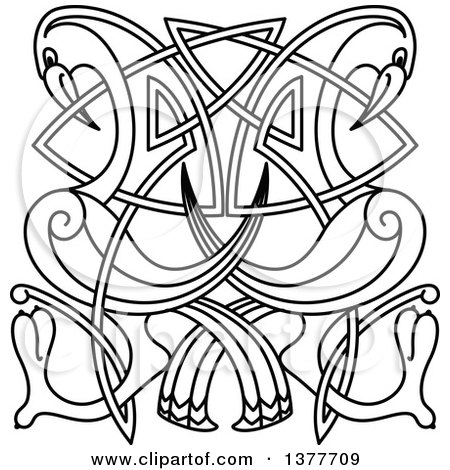 Clipart of a Black and White Lineart Celtic Knot Cranes or Heron - Royalty Free Vector Illustration by Vector Tradition SM