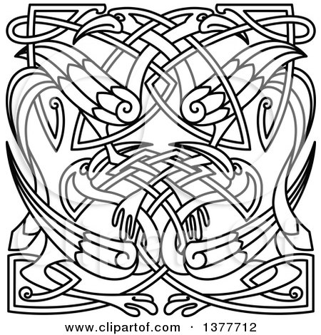 Clipart of Lineart Celtic Animal Knots - Royalty Free Vector ...