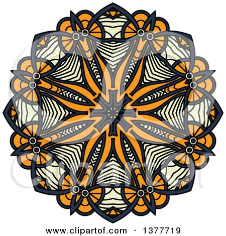 Clipart of a Navy Blue, Orange and Pastel Yellow Kaleidoscope Flower - Royalty Free Vector Illustration by Vector Tradition SM