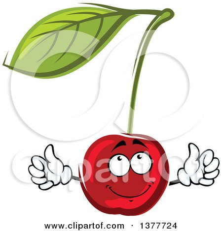 Clipart of a Cherry and Leaf - Royalty Free Vector Illustration by Vector Tradition SM