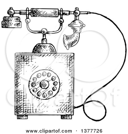 Clipart of a Black and White Sketched Vintage Telephone - Royalty Free Vector Illustration by Vector Tradition SM