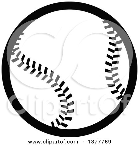 Clipart of a Black and White Baseball - Royalty Free Vector Illustration by Vector Tradition SM