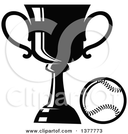 Clipart of a Black and White Baseball and Trophy - Royalty Free Vector Illustration by Vector Tradition SM