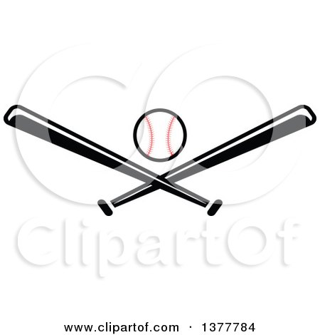 clipart of a baseball and black and white crossed bats royalty rh clipartof com Crossed Bats SVG Crossed Bats Logo