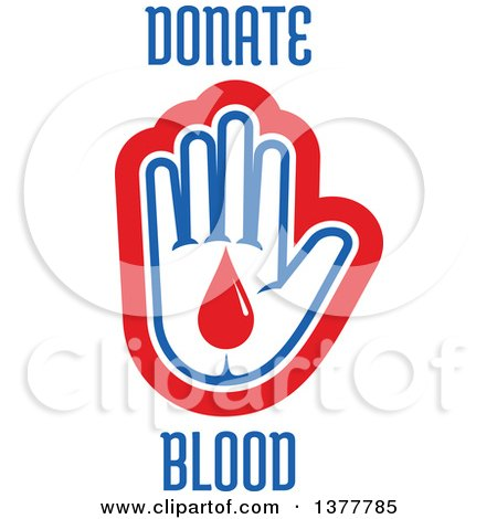 Clipart of a White Blue and Red Hand with a Blood Drop and Donate Blood Text - Royalty Free Vector Illustration by Vector Tradition SM