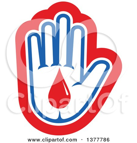 Clipart of a White Blue and Red Hand with a Blood Drop - Royalty Free Vector Illustration by Vector Tradition SM