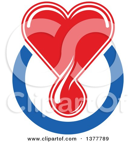 Clipart of a Red Blood Drop Heart over a Blue Circle - Royalty Free Vector Illustration by Vector Tradition SM