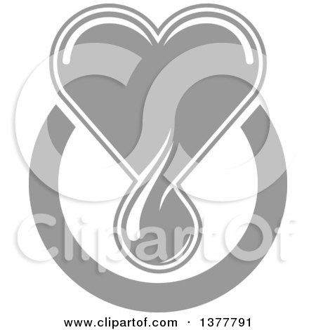 Clipart of a Grayscale Blood Drop Heart over a Circle - Royalty Free Vector Illustration by Vector Tradition SM