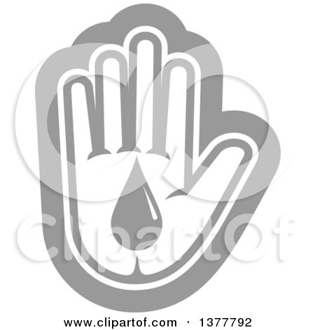 Clipart of a Grayscale Hand with a Blood Drop - Royalty Free Vector Illustration by Vector Tradition SM