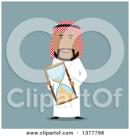 Clipart of a Flat Design Arabian Business Man Holding an Hourglass, on Blue - Royalty Free Vector Illustration by Vector Tradition SM