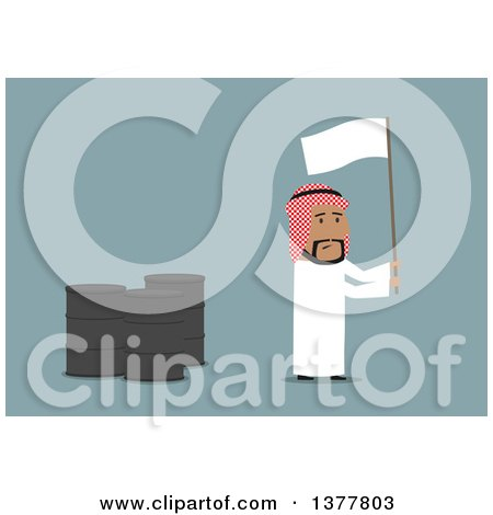 Clipart of a Flat Design Arabian Business Man Waving a White Flag by Oil Barrels, on Blue - Royalty Free Vector Illustration by Vector Tradition SM