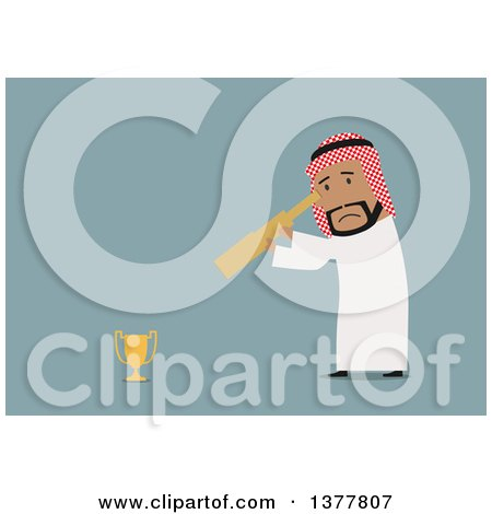 Clipart of a Flat Design Arabian Business Man Looking at a Trophy Through a Spyglass, on Blue - Royalty Free Vector Illustration by Vector Tradition SM