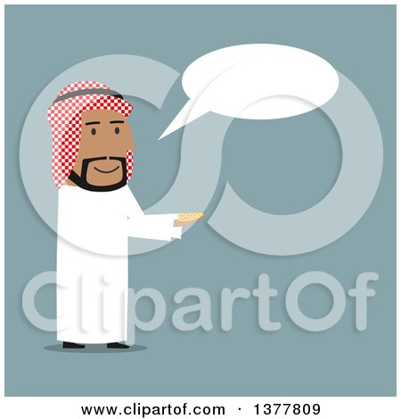 Clipart of a Flat Design Arabian Business Man Holding out Coins and Talking, on Blue - Royalty Free Vector Illustration by Vector Tradition SM