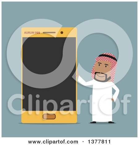 Clipart of a Flat Design Arabian Business Man with a Smart Phone, on Blue - Royalty Free Vector Illustration by Vector Tradition SM
