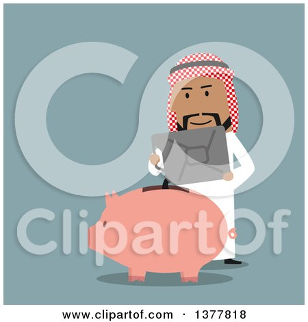 Clipart of a Flat Design Arabian Business Man Pouring Gas into a Piggy Bank, on Blue - Royalty Free Vector Illustration by Vector Tradition SM