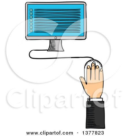 Clipart of a Sketched White Business Man's Hand and Desktop Computer - Royalty Free Vector Illustration by Vector Tradition SM
