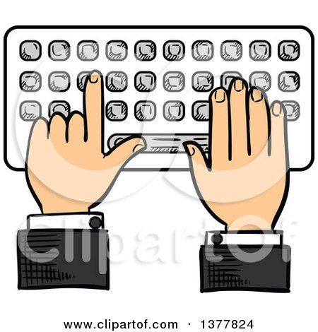 Clipart of a Sketched White Business Man's Hands Typing on a Keyboard - Royalty Free Vector Illustration by Vector Tradition SM