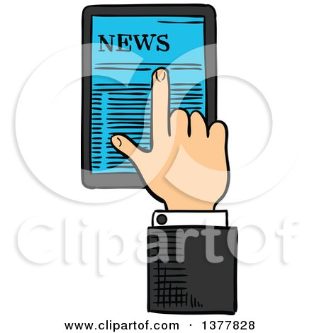 Clipart of a Sketched White Business Man's Hand Using a Touch Screen Tablet Computer - Royalty Free Vector Illustration by Vector Tradition SM