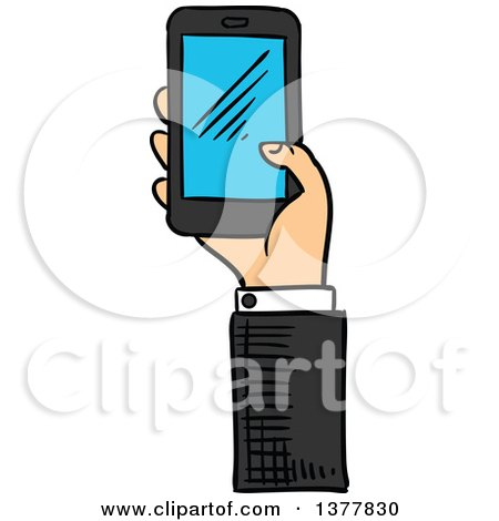 Clipart of a Sketched White Business Man's Hand Holding a Smart Phone - Royalty Free Vector Illustration by Vector Tradition SM