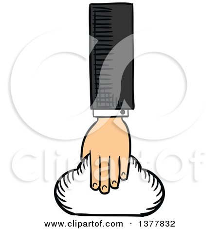 Clipart of a Sketched White Business Man's Hand Holding a Cloud - Royalty Free Vector Illustration by Vector Tradition SM