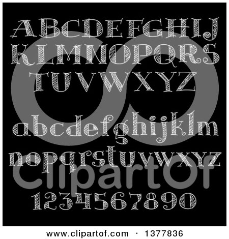 Clipart of Chalk Letters and Numbers on a Black Board - Royalty Free Vector Illustration by Vector Tradition SM