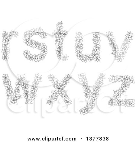 Clipart of Black and White Lineart Floral Lowercase Alphabet Letters R, S, T, U, V, W, X, Y, Z - Royalty Free Vector Illustration by Vector Tradition SM