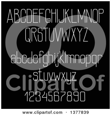Clipart of White Letters and Numbers on Black - Royalty Free Vector Illustration by Vector Tradition SM