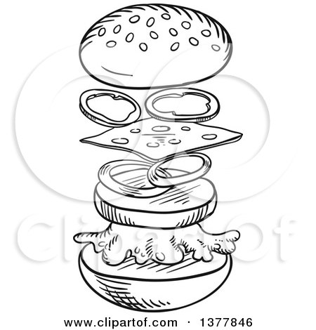 Clipart of a Black and White Sketched Cheeseburger Separated Showing Assembly - Royalty Free Vector Illustration by Vector Tradition SM
