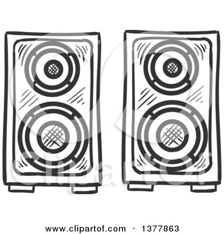 Clipart of Black and White Sketched Music Speakers - Royalty Free Vector Illustration by Vector Tradition SM