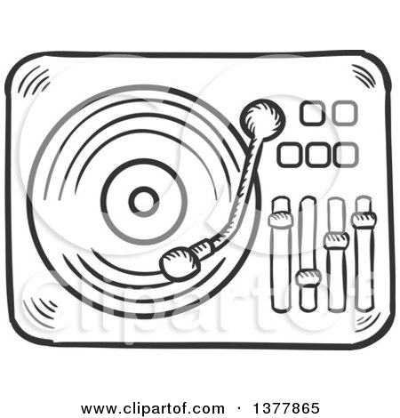 Clipart of a Black and White Sketched Vinyl Record Player - Royalty Free Vector Illustration by Vector Tradition SM