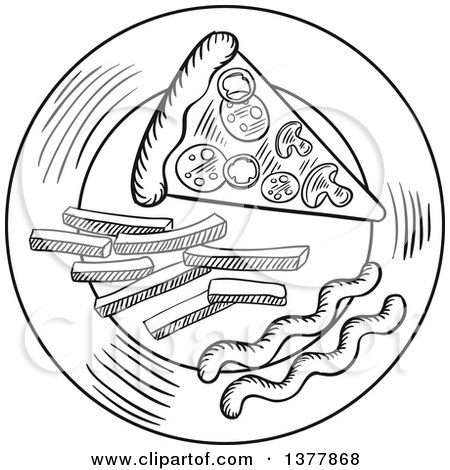 Clipart Of A Black And White Sketched Slice Of Pizza And Fries On A