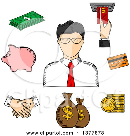 Clipart of a Sketched Businessman and Financial Icons with Money Bags, ATM, Credit Card, Handshake, Piggy Bank, Dollar Coins and Bills - Royalty Free Vector Illustration by Vector Tradition SM
