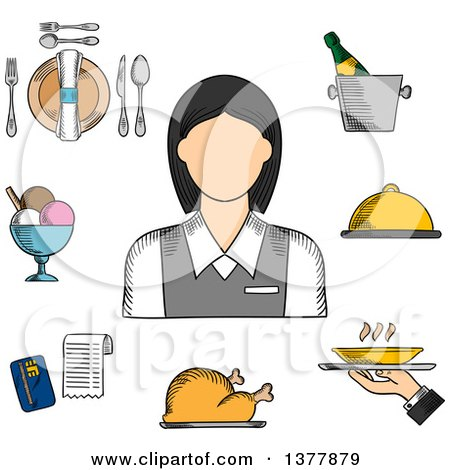Clipart of a Sketched Waitress in Elegant Uniform, Surrounded by Dinner Set, Champagne and Ice Bucket, Ice Cream Sundae, Fried Chicken, Cloche and Restaurant Bill - Royalty Free Vector Illustration by Vector Tradition SM