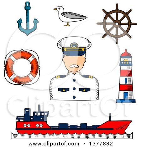 Clipart of a Sketched Captain in White Uniform, Helm, Ship, Anchor, Lifebuoy, Lighthouse and Seagull - Royalty Free Vector Illustration by Vector Tradition SM