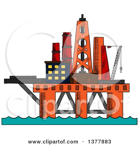 Clipart of a Sketched Oil Platform - Royalty Free Vector Illustration by Vector Tradition SM