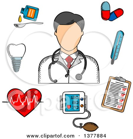 Clipart of a Sketched Doctor Thermometer, Tooth, Pills, Medication, Chart, Heartbeat and ECG - Royalty Free Vector Illustration by Vector Tradition SM