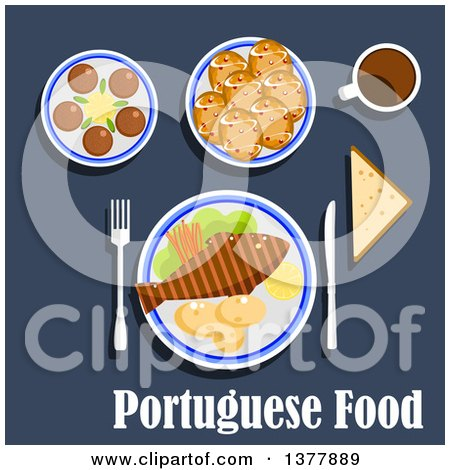 Clipart of Portuguese Food with Text over Blue - Royalty Free Vector Illustration by Vector Tradition SM