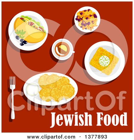 Clipart of Jewish Food with Text over Red - Royalty Free Vector Illustration by Vector Tradition SM