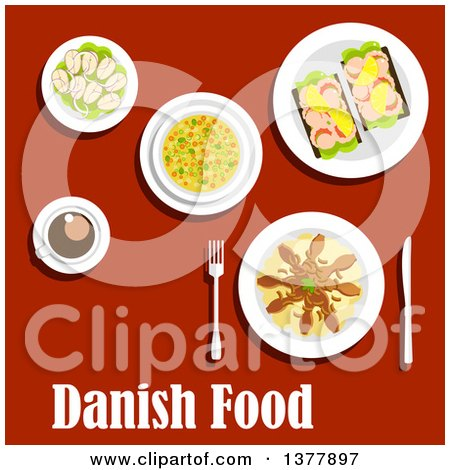 Clipart of Danish Food with Text over Red - Royalty Free Vector Illustration by Vector Tradition SM
