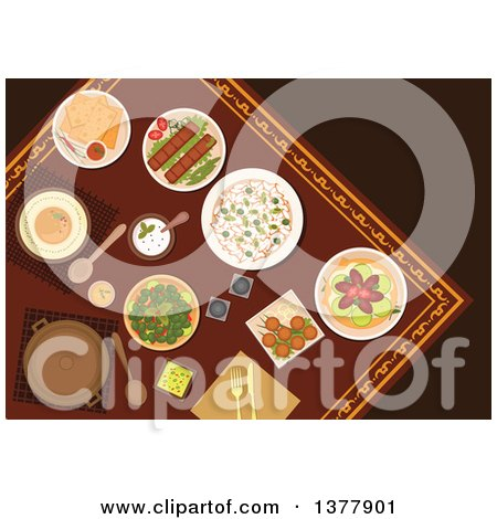 Clipart of Flat Design Arabian Food, Kebab, Falafels, Pita Bread with Dipping Sauces, Hummus, Rice, Pickled Green Olives and Lahmacun with Meat and Vegetables - Royalty Free Vector Illustration by Vector Tradition SM