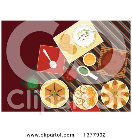 Clipart of Spicy Arabian Food, Chickpea Falafels, Wrapped in Flatbread, Pita with Hummus, Assortment of Dipping Sauces, Sfiha Meat Pie, Teapot and Cakes with Sliced Oranges - Royalty Free Vector Illustration by Vector Tradition SM