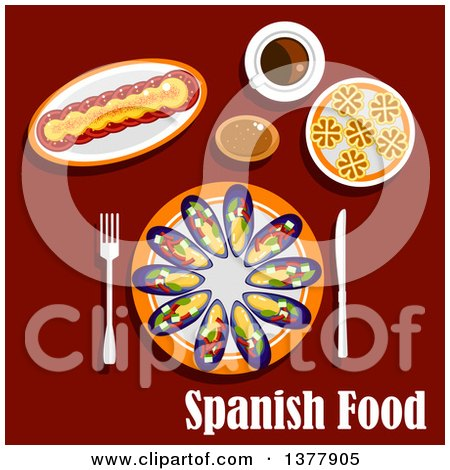 Clipart of Spanish Food with Text over Red - Royalty Free Vector Illustration by Vector Tradition SM