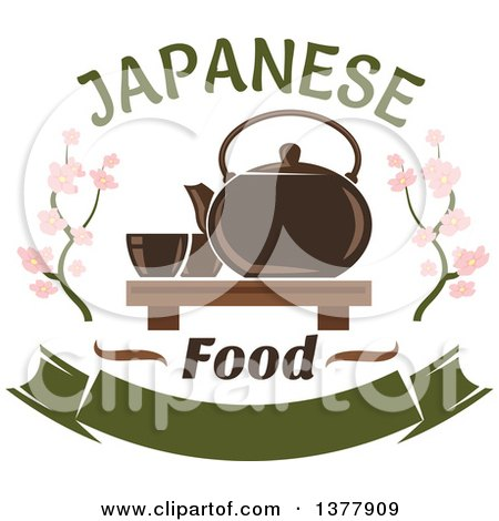 Clipart of a Japanese Food Design of a Tea Set and Blossoms - Royalty Free Vector Illustration by Vector Tradition SM