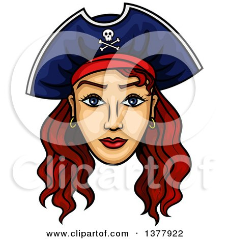 Clipart of a Brunette White Female Pirate Captain - Royalty Free Vector Illustration by Vector Tradition SM
