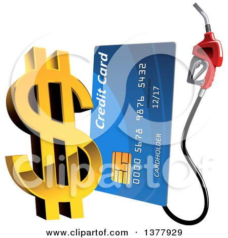 Clipart of a Blue Gas Pump Credit Card with a 3d Golden Dollar Currency Symbol - Royalty Free Vector Illustration by Vector Tradition SM