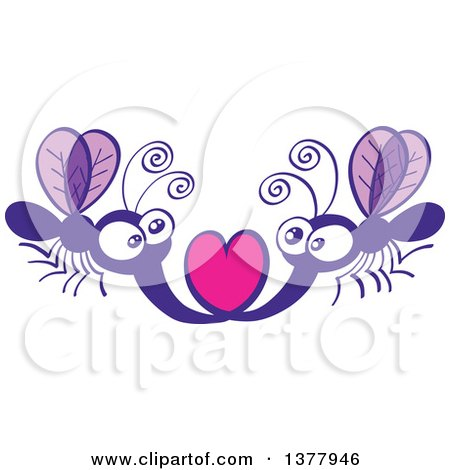 Clipart of a Romantic Valentine Mosquito Couple Forming a Heart with Their Stingers - Royalty Free Vector Illustration by Zooco