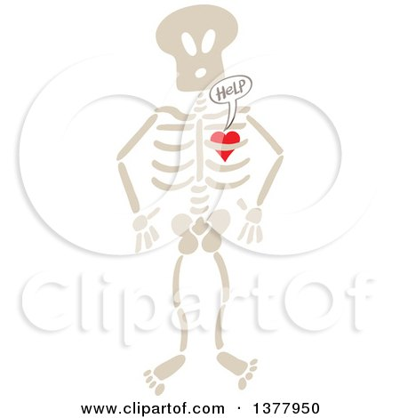 Clipart of a Heart Imprisoned Within a Skeleton, Begging for Help - Royalty Free Vector Illustration by Zooco