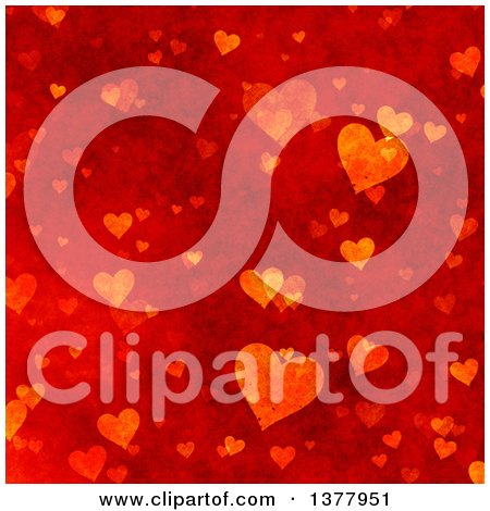 Clipart of a Red Grunge Bacground of Valentine Hearts - Royalty Free Illustration by KJ Pargeter